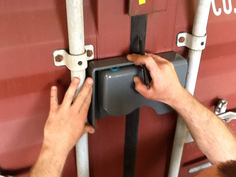 Installing a bolt on container lock box steps